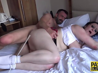 Deep Throats Brit dominated and tied