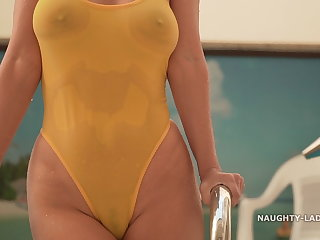 Flashing See-through when wet swimsuit