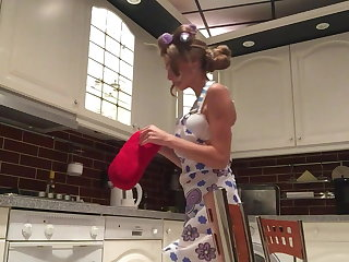 Dildo anal in the kitchen