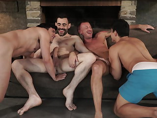 Old+Young Two daddies fuck younger couple bareback