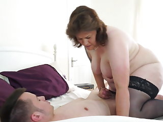 Fisting Good morning with chubby mature mom and slim son