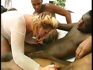 all French bbw blonde in black gangbang