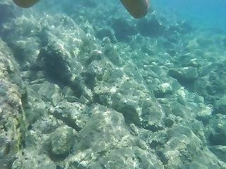 Beach Nude swimming and cumshot in the mediterranean sea