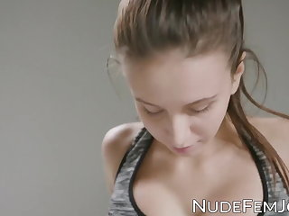 Spandex Busty young beauty working out while topless