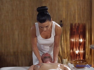Massage Massage Rooms Oily cock massage with hot Romanian