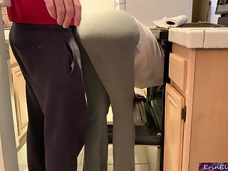 Funny Stepmom is horny and stuck in the oven