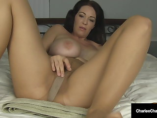 Pantyhose Muff Pleasing Charlee Chase Masturbates & Squirts In Hose!