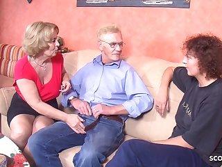 Saggy Tits GRANDPA FUCK TWO GERMAN OLD WOMAN IN THREESOME TABOO