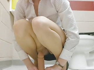 Hairy Riding A Dildo At Work