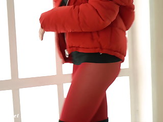 Red Tights. Jeny Smith public walking in tight red pantyhose Jeny Smith