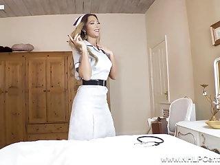 Nylon Sexy Nurse peels off uniform and masturbates in nylons heels