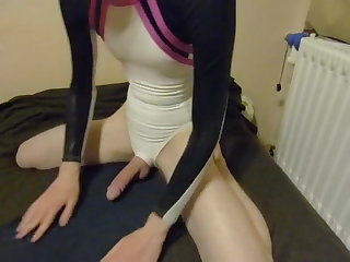 Escort young boy in cute leotard masturbate and cum