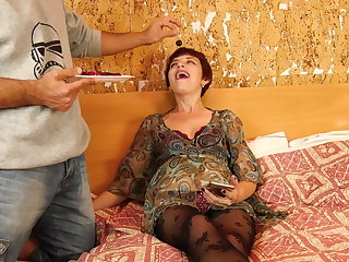Hairy Mom Nicola with saggy tits suck sons balls and fucks him