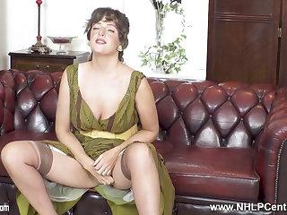 Portuguese Brunette natural big tits masturbates in rare nylons heels