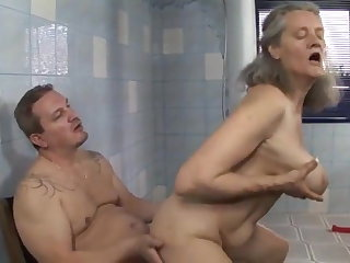 CFNM Hungarian granny fucked in bathroom by young guy