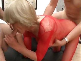 Romanian Granny Rita in red fishnet pleasures 2 hard cum filled cock