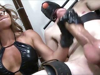 Bondage milking cum on the ass