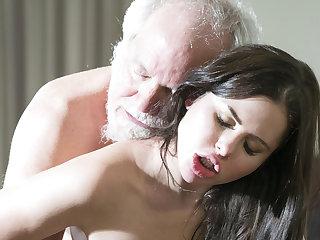 Yoga Teen Interrupts Grandpa from Yoga And Sucks his Cock wet
