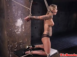 Sex Toys Inked bdsm sub restrained for pussyrubbing