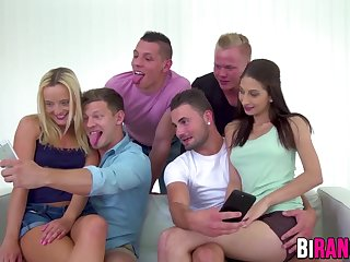 Bisexuals Wet pussies and tight asses getting pounded in crazy bi orgy
